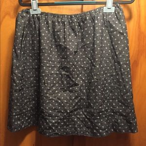 Ann Taylor Loft Cotton Skirt gray with polka dots